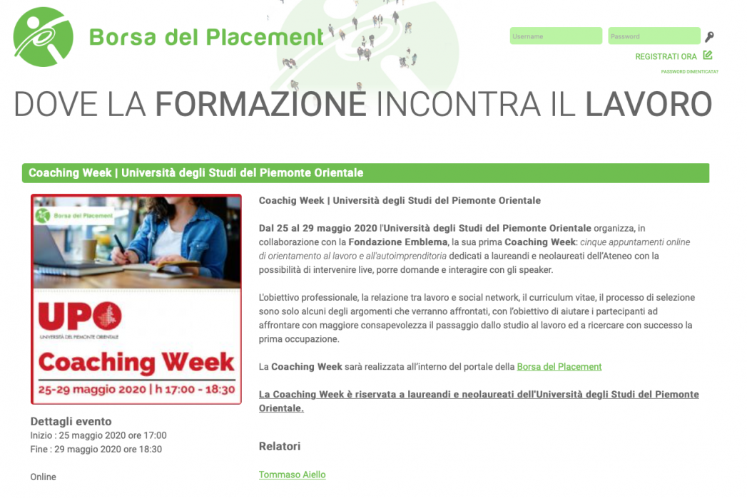 Prima Coaching Week online in collaborazione con Fondazione Emblema